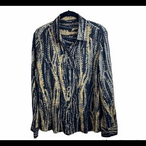 Massimo Dutti Black Tie Dye with Gold Thred Button-down